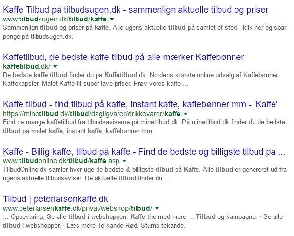 kaffe tilbud i Google